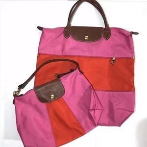 Longchamp Le Pliage Pink Orange Nylon 2 Bags